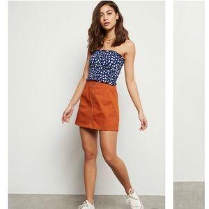 Girls Orange Zip Front Skirt